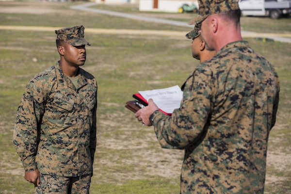 Sgt. Raheem Boyd, a heavy equipment operator with Special-Purpose Marine Air-Ground Task Force Crisis Response-Africa is recognized for his heroic actions during an American Hero Award ceremony aboard Morón Air Base, Spain, Dec. 23, 2015. Boyd's courageous actions prevented a suicide aboard Camp Lejeune, May, 2015. (U.S. Marine Corps photo by Staff Sgt. Vitaliy Rusavskiy/Released)