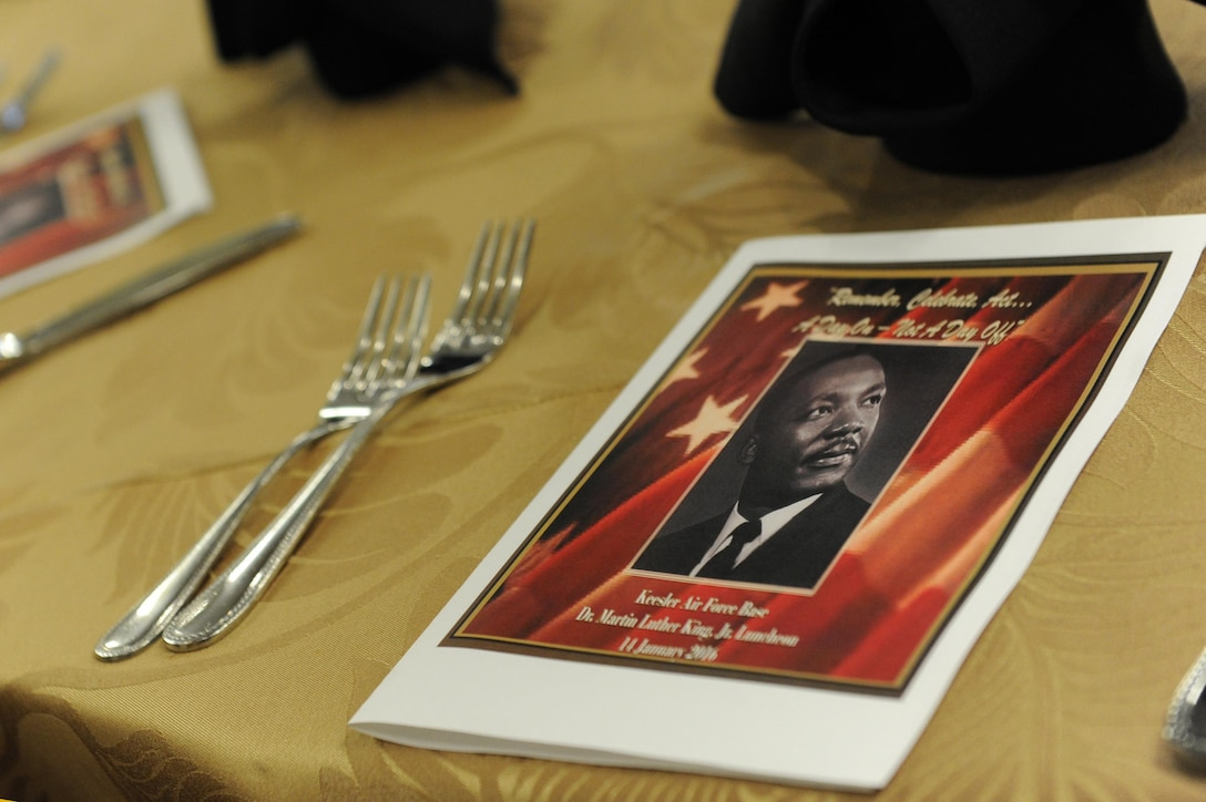 An event program sits on display for guests at the annual Dr. Martin Luther King Jr. Memorial Luncheon at the Bay Breeze Event Center, Jan. 14, 2016, Keesler Air Force Base, Miss. The event was held to honor the legacy of King and give information about how he helped inspire civil rights activism within the African American community.  The guest speaker for the event was Col. Malcolm Johnson, 2nd Air Force vice commander. (U.S. Air Force photo by Kemberly Groue)