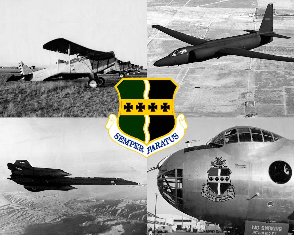 """The 9th Reconnaissance Wing crest features the gold and green of the former Army Air Service, a central wavy line denoting the Rio Grande River and early service in Mexico, four black crosses in remembrance of the four major offensives in WWI. Finally, the phrase """"Semper Paratus"""" meaning Always Ready. The official Air Force use of the phrase dates back to 1924. (U.S. Air Force photo illustration by Staff Sgt. Jeffrey M. Schultze)"""