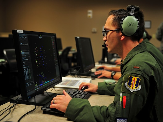 First Lt. Colby Ray, 337th Air Control Squadron air battle manager student, practices his skills at the 337th ACS building, Jan. 15. With a demanding 9-month course, ABM students are rigorously tested with academic work and long, challenging days. (U.S. Air Force photo by Senior Airman Dustin Mullen/Released)