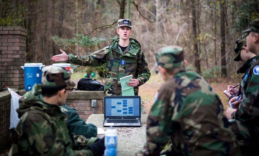 Cadet Colonel Tyler Hoover, Civil Air Patrol, explains a callback process to other cadets during a field training exercise Jan. 9, 2016, on James Island, S.C. The callback process is the means for cadets and seniors to stay in touch with their team while on search-and-rescue missions. The process ensures accountability and accuracy of important information passed from caller to caller. (U.S. Air Force photo/Senior Airman Clayton Cupit)