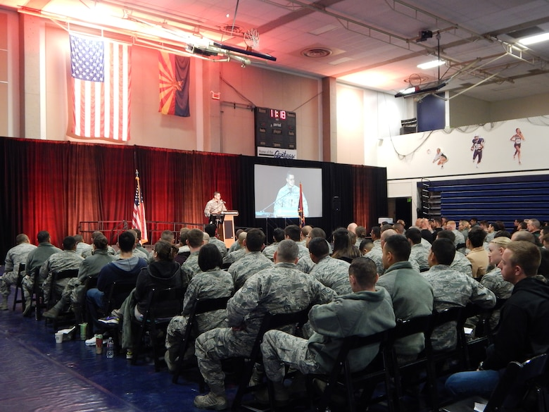 Airmen from the Arizona Air National Guard's 162nd Wing listen to one of the speaker's at the 6th annual My Air Guard Incentive Career, or MAGIC event at Pima Community College West Campus Jan. 9-10. The two-day event included presentations on career development, continuing education, mentorship, resiliency, physical and mental health, life insurance and financial guidance. (U.S. Air National Guard photo by 2nd Lt. Lacey Roberts)