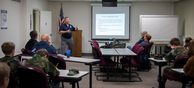 Civil Air Patrol cadets and seniors partake in an astrobiology class Jan. 11, 2016, at the CAP office on Joint Base Charleston – Air Base, S.C. CAP's aerospace education efforts focus on two different audiences: volunteer CAP members and the general public.  The programs ensure that all CAP members (seniors and cadets) have an appreciation for and knowledge of aerospace issues.  To advance within the organization, members are required to participate in the educational program. (U.S. Air Force photo/Senior Airman Clayton Cupit)