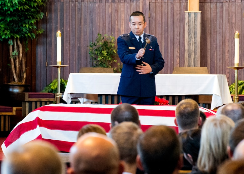 Chaplain (Capt.) Joseph Hoang,11th Wing, officiates during the funeral service at the Fort Myer, Va., Memorial Chapel Jan. 19, for Air Force Office of Special Investigations Special Agent (Maj.) Adrianna M. Vorderbruggen who was one of six Airmen killed by a suicide bomber near Bagram Air Base, Afghanistan, Dec. 21, 2015. (U. S. Air Force photo/Special Agent Cameron MacKenzie)