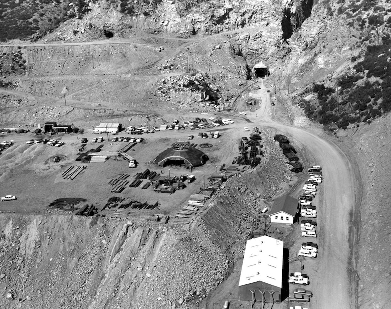 PETERSON AIR FORCE BASE, Colo. - Cheyenne Mountain Air Force Station construction in 1963. April 20, 2016 marks a significant milestone in the history of national defense when Cheyenne Mountain celebrates its 50th anniversary. On that day in 1966, one of today's modern engineering marvels was declared fully operational and began its diligent vigil protecting the nation. (courtesy photo)