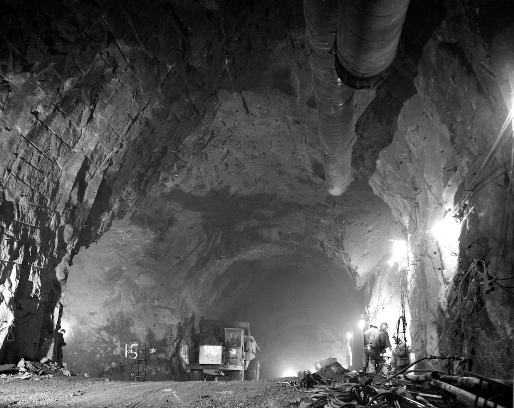 PETERSON AIR FORCE BASE, Colo. - Cheyenne Mountain Air Force Station tunnel construction in 1962. April 20, 2016 marks a significant milestone in the history of national defense when Cheyenne Mountain celebrates its 50th anniversary. On that day in 1966, one of today's modern engineering marvels was declared fully operational and began its diligent vigil protecting the nation. (courtesy photo)