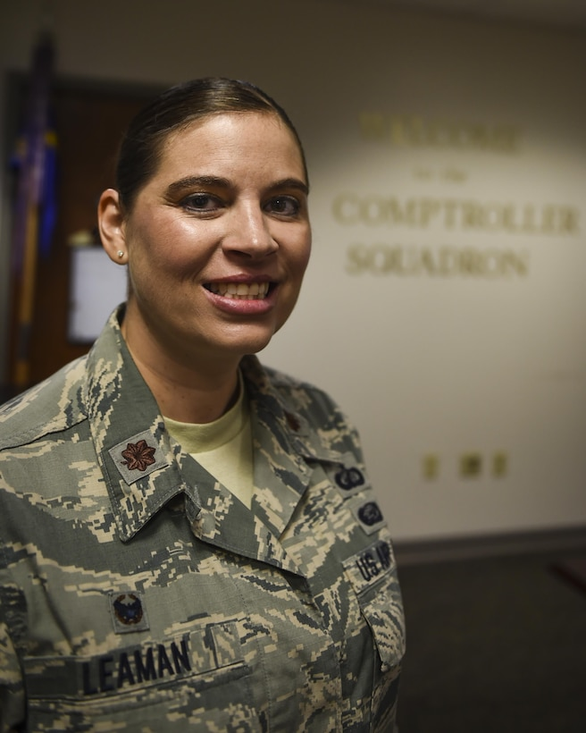 Maj. Krista Leaman is the commander of the 1st Special Operations Wing Comptroller Squadron, a 1st Special Operations Wing staff agency, that manages the financial business of Hurlburt Field, Fla. The 1st SOCPTS provides peacetime and wartime world-wide support to all members, both active and retired, of the uniformed services, other members of the Department of Defense components, as well as civilian employees. (U.S. Air Force photo by Senior Airman Christopher Callaway)