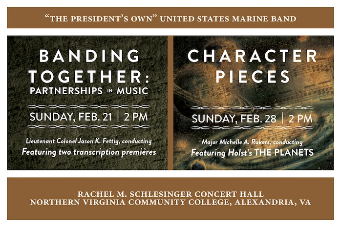 BANDING TOGETHER: Sunday, Feb. 21 at 2 p.m. EST, NOVA, Alexandria, Va. - All of the works on this creative concert program tell the tale of partnerships; those that are told by the music itself and those that bring it to life on the concert stage. Included are two world premières: internationally lauded conductor and composer Gerard Schwarz's new transcription of his tone poem Rudolf and Jeanette and a substantial new transcription for band of Percy Grainger's imaginary ballet The Warriors.