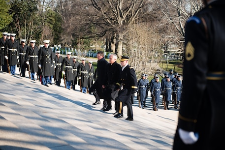 From the left, U.S. Secretary of Defense Ashton B. Carter, Prime Minister of Australia Malcolm Turnbull and Joint Force Headquarters-National Capitol Region/U.S. Army Military District of Washington Commanding General Maj. Gen. Bradley A. Becker approach the Tomb of the Unknown Soldier at Arlington National Cemetery, Jan. 18, 2016, in Arlington, Va. Turnbull laid the wreath during a two-day visit to Washington, D.C. (U.S. Army photo by Rachel Larue/Arlington National Cemetery/released)