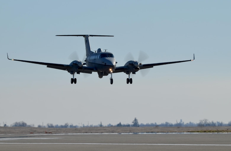 An MC-12W Liberty makes its final approach at Beale Air Force Base, Calif., Jan. 22, 2014. The Liberty's primary mission is to provide intelligence, surveillance and reconnaissance, or ISR, support directly to ground forces. (U.S. Air Force photo by Airman 1st Class Bobby Cummings/Released)