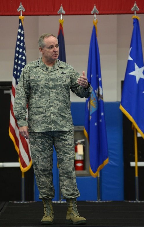 Air Force Chief of Staff Gen. Mark A. Welsh III speaks at an all call during his visit Jan. 21, 2016, at Andersen Air Force Base, Guam. During the all call, Welsh discussed challenges facing the Air Force to include budget changes, future of benefits, readiness and the modernization of the force. (U.S. Air Force photo/Airman 1st Class Arielle Vasquez)