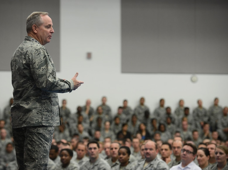 Air Force Chief of Staff Gen. Mark A. Welsh III speaks at an all call during his visit Jan. 21, 2016, at Andersen Air Force Base, Guam. Welsh spoke about matters pertaining to the Air Force and shared personal stories about himself and his service. (U.S. Air Force photo/Airman 1st Class Arielle Vasquez)