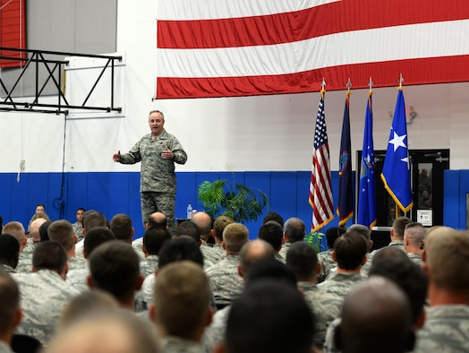 Air Force Chief of Staff Gen. Mark A. Welsh III speaks at an all call during his visit Jan. 21, 2016, at Andersen Air Force Base, Guam. During the all call, Welsh discussed the strategic advantage Guam has in the Indo-Asia Pacific region and thanked Airmen for their dedication and support. (U.S. Air Force photo/Senior Airman Cierra Presentado)