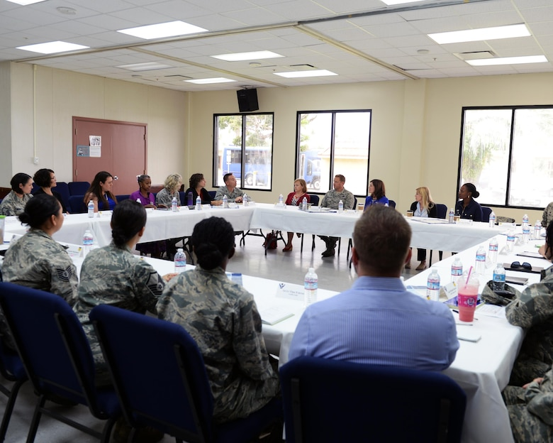 Betty Welsh, spouse of Air Force Chief of Staff Gen. Mark A. Welsh III, speaks with organization leaders during a round table discussion Jan. 21, 2016, at Andersen Air Force Base, Guam. During the discussion, the leaders explained their programs and how its benefits Andersen Airmen and their families. (U.S. Air Force photo/Senior Airman Ciera Presentado)