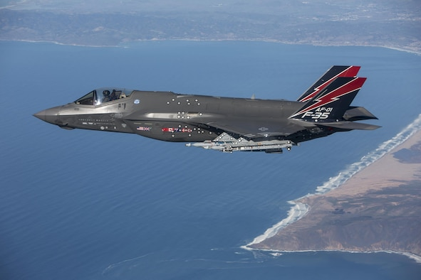 AF-1, of the 461st Flight Test Squadron at Edwards Air Force Base, Calif., became the first F-35 to fire the AIM-9X missile Jan. 12, 2016. (Lockheed Martin photo/Chad Bellay)