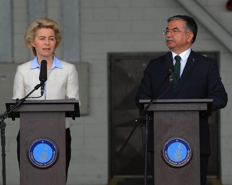 German Federal Minister of Defense Ursula von der Leyen, left, and Turkish Minister of National Defense Ismet Yilmaz speak to media and deployed forces Jan. 21, 2016, on Incirlik Air Base, Turkey. Von der Leyen thanked Turkey for their hospitality and for welcoming German troops to Incirlik AB as part of the coalition forces fighting against the Islamic State of Iraq and the Levant. (U.S. Air Force photo by Airman Daniel Lile/Released)