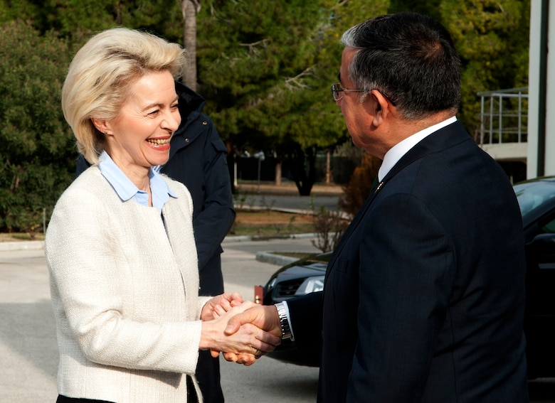 German Federal Minister of Defense Ursula von der Leyen is greeted by the Turkish Minister of National Defense Ismet Yilmaz Jan. 21, 2015 during her visit to Incirlik Air Base, Turkey. Von der Leyen came to Incirlik AB to visit with German forces deployed here. (U.S. Air Force photo by Staff Sgt. Jack Sanders/Released)