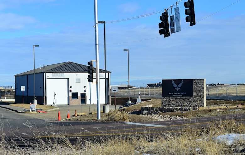 New signs stand at the Mississippi Gate Jan. 21, 2016, on Buckley Air Force Base, Colo. The new signs are one of many ongoing construction initiatives designed to improve the installation. (U.S. Air Force photo by Airman 1st Class Gabrielle Spradling)