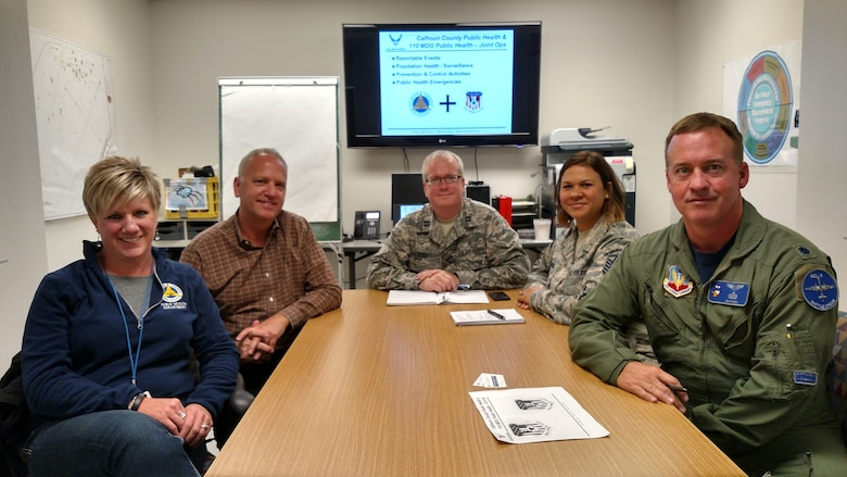 Members from the Calhoun County Public Health Department meet with 110th Medical Group Friday, Sept. 11, 2015, Battle Creek Air National Guard Base, Mich., to discuss base operations and the surrounding community. (Air National Guard photo courtesy asset/released)