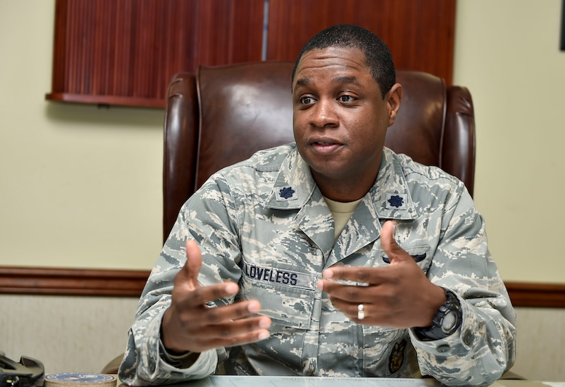 The installation inspector general, Lt. Col. Roosevelt Loveless, talks about the upcoming capstone inspection scheduled for April at Joint Base Charleston, S.C. Jan. 7, 2016. The Joint Base Charleston Inspection Program is part of the Air Force Inspection System and falls under the Air Mobility Command's Inspection Program. In April, a team of inspectors from AMC will be assessing our program in person. (U.S. Air Force Photo/Staff Sgt. Jared Trimarchi)