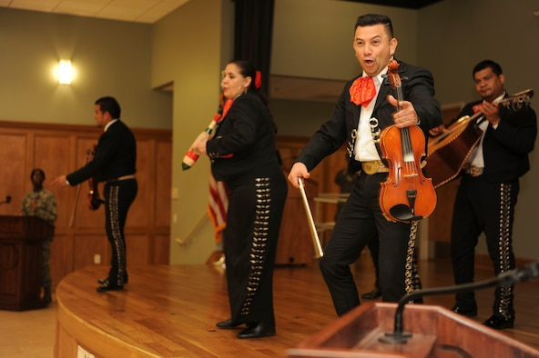 "A Mariachi band plays ""La Bamba"" during Diversity Day Jan. 15, 2016, at Little Rock Air Force Base, Ark. Mariachi bands play traditional folk music from Mexico. (U.S. Air Force photo by Airman 1st Class Mercedes Taylor)"