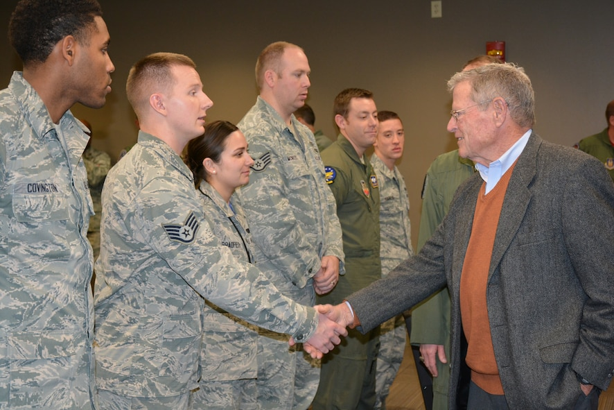 U.S. Sen. Jim Inhofe, R-Okla., greets Staff Sgt. Joshua O'Dell during a visit with Airmen from the 552nd Air Control Wing Jan. 15. Sergeant O'Dell, from Oklahoma City, is a Computers/Electronic Warfare Craftsman with the 552nd Maintenance Squadron.  He leads a four-member C/EW team that accomplishes scheduled and unscheduled maintenance on 27 E-3s valued at $8.9 billion. During his visit to Tinker, Senator Inhofe received an update on the KC-46A beddown, toured the new 966th Airborne Air Control Squadron location in Bldg. 201 and met with several Airmen, including Sergeant O'Dell, who had just returned from a recent deployment. (Air Force photo by Darren D. Heusel/Released)