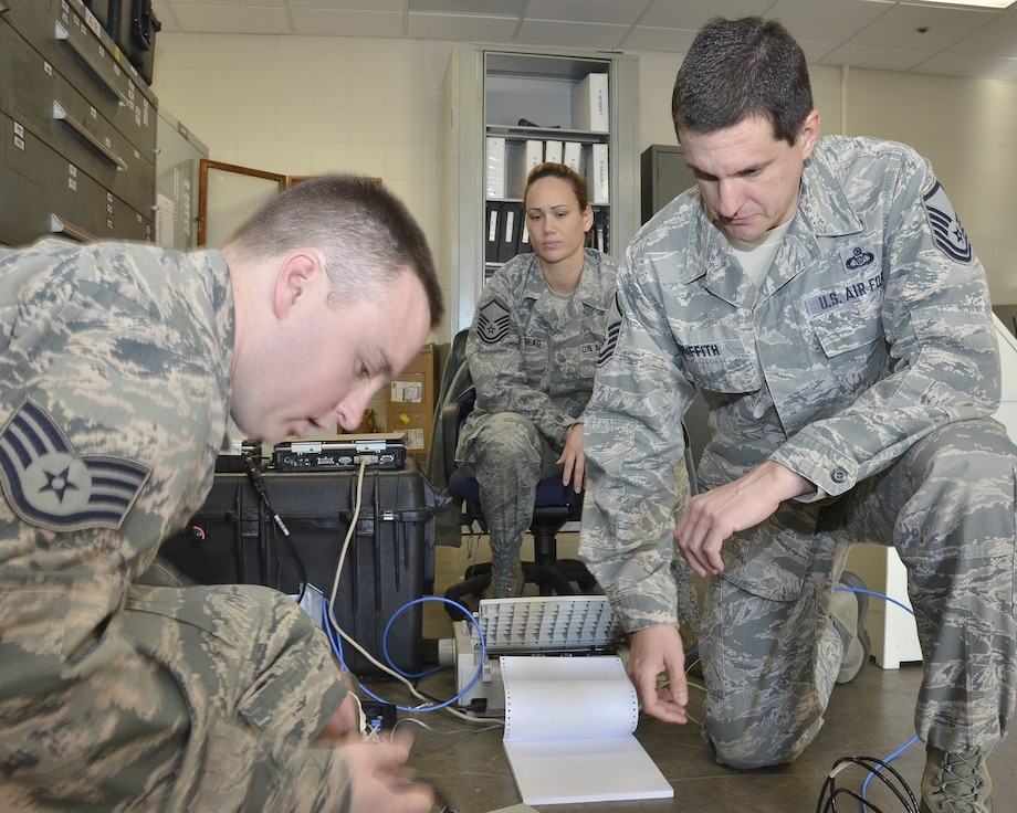 Master Sgt. Steve Griffith, 117th Air Refueling Wing Command Post Superintendent along with controller Master Sgt. Leeann Bankhead observe as Staff Sgt. Charles O'Rourke checks equipment during a recent exercise January 21 2015. (U.S. Air National Guard photo by: Senior Master Sgt. Ken Johnson/Released)