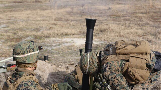 Marines with 2nd Battalion, 2nd Marine Regiment, fire a round down range during a live-fire mortar exercise with 81 mm mortar systems in preparation for the unit's upcoming deployment at Marine Corps Base Camp Lejeune, North Carolina, Jan. 21,2016. The Marines worked with the mortar systems until the late evening, sending more than 350 rounds downrange, and accomplished their goal of having more than 90 percent of their rounds impact on their designated targets.