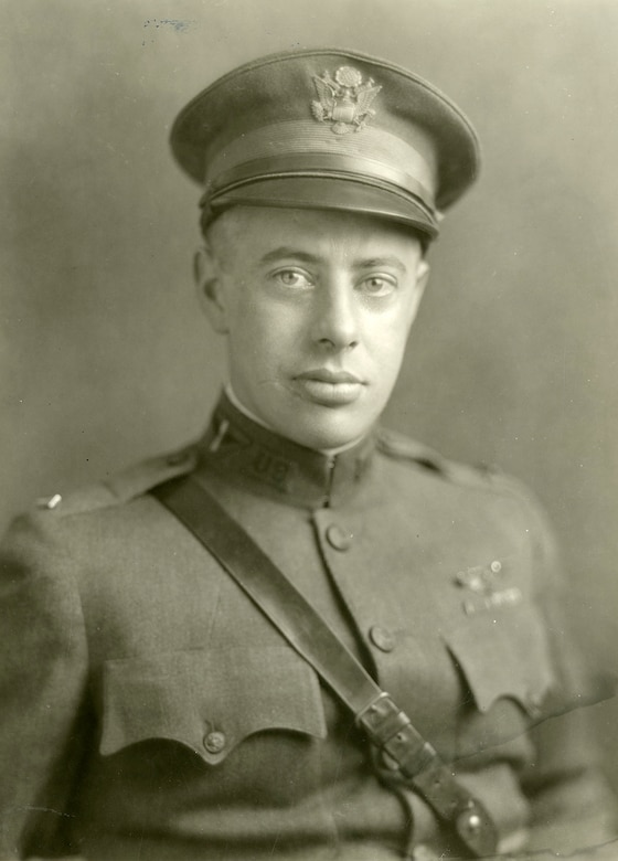 George C. Kenny achieved his first aerial victory on Sept. 15, 1918, and was awarded the Silver Star for his actions. On Oct. 9, he again showed great heroism as he flew in support of the Meuse-Argonne Offensive near Jametz, France. For his actions, he was awarded the Distinguished Flying Cross, presented to him by Brig Gen Billy Mitchell. (U.S. Air Force photo)