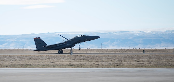 An F-15E Strike Eagle lands on the flightline at Mountain Home Air Force Base, Idaho, Jan. 20, 2016. The first F- 15 took flight in July 1972. Since then, many improvements have been made to the aircraft. (U.S. Air Force photo/Airman Chester Mientkiewicz)