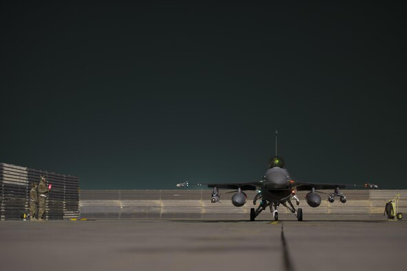 An F-16 Fighting Falcon from the 421st Expeditionary Fighter Squadron finishes final checks before departing on a sortie in support of ground operations in Helmand Province, Afghanistan, Jan. 6, 2016. The 421st EFS, based out of Bagram Airfield, Afghanistan, is the only dedicated fighter squadron in the country and continuously supports Operation Freedom's Sentinel and the NATO Resolute Support missions. (U.S. Air Force photo/Tech. Sgt. Robert Cloys)