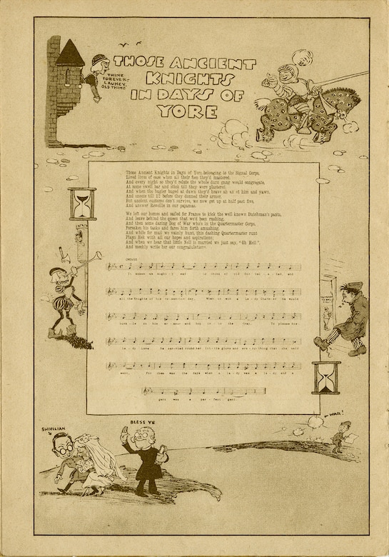 """This short booklet, """"Ye A.E.F Hymnal: A Collection of the Doughboy Lyrics that Smoothed the Road from Hoboken to the Rhine,"""" contains 17 humorous songs collected from the Front. It was published in Nancy, France, in 1918-1919 by Berger-Levrault and originally sold for 3.75 francs. The booklet was purchased and returned home by Lt. James A. Royer of the 9th Aero Squadron. Here are the lyrics for the song """"Those Ancient Knights in Days of Yore."""" (U.S. Air Force photo)"""
