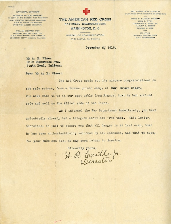 On Sept. 26, 1918, Lt. Guy Brown Wiser of the 20th Aero Squadron was shot down during the Meuse-Argonne Offensive and captured by German forces. The following day, he was permitted to fill out a card which was mailed to his mother, Alva Wiser, alerting her to his prisoner of war status. Almost a month after the Armistice, Mrs. Wiser would receive another notification -- this time, from The American Red Cross, relaying the happy news that her son had been released from the prison camp and was safe in France. Lt. Wiser returned to the United States in March 1919, aboard the USS Michigan. (U.S. Air Force)