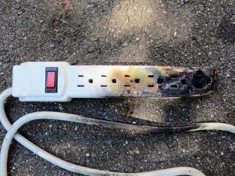 Burnt power strip (Courtesy photo)