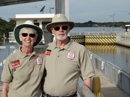 Volunteers Betty Ann and John Sutton host tours of W.P. Franklin Lock and Dam