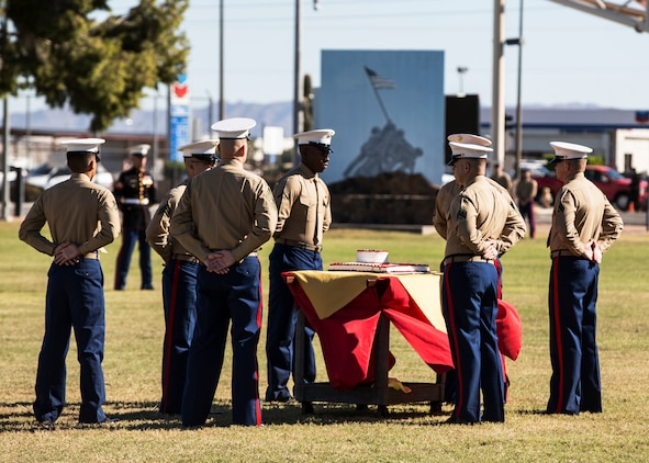 Marines participate in the annual uniform pageant and cake cutting ceremony at the parade field aboard Marine Corps Air Station Yuma, Ariz., Friday, Nov. 6, 2015. The ceremony celebrated the Marine Corps' 240th birthday and paid tribute to past generations of Marines.
