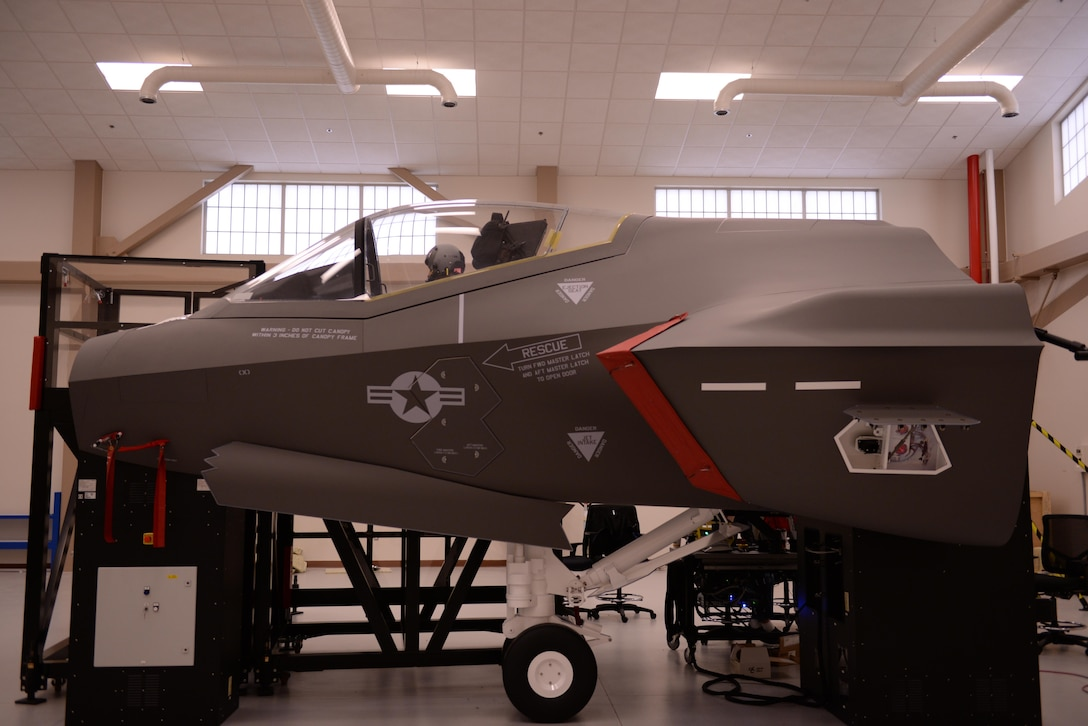 Tests are conducted on the F-35 Lightning II egress trainer Jan. 15 at Luke Air Force Base. The egress trainer is designed to simulate the mechanical layout of the ejection and emergency evacuation system of the F-35.