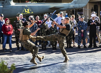 Marines, based out of Marine Corps Air Station Yuma, demonstrate Marine Corps Martial Arts Program techniques for a crowd of spectators during the Yuma Military Appreciation Day in downtown Yuma, Ariz., Saturday, Dec. 5, 2015.
