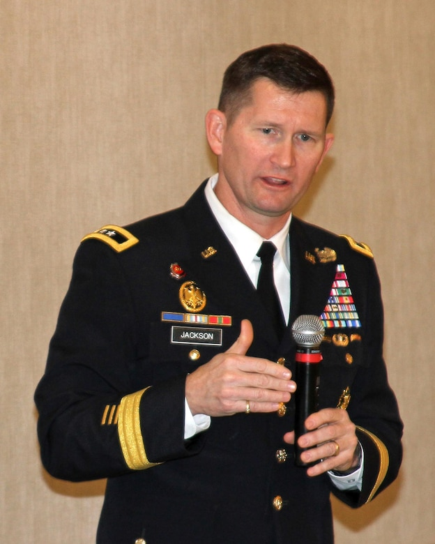 Maj. Gen. Ed Jackson, deputy commanding general for civil and emergency operations, U.S. Army Corps of Engineers, speaks to attendees at the winter meeting of the California Marine Affairs and Navigation Conference Jan. 21 at Marina del Rey, California.