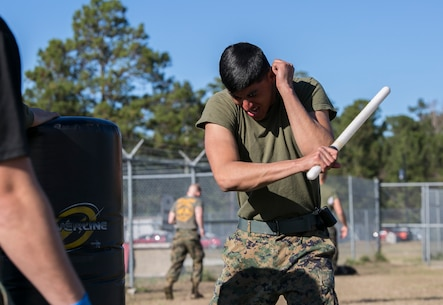 A Marine with Combat Logistics Battalion 22 attacks a stationary punching bag with a baton after being sprayed in the eyes with oleoresin capsicum, more commonly known as OC spray, at Camp Lejeune N.C., Jan 14. CLB-22 Marines have been enrolled in the course for a week and have started studying the effects and purposes of OC spray. Marines often use OC spray when mechanical control holds or other take down techniques are no longer safe to execute. (U.S. Marine Corps photo by Lance Cpl. Luke Hoogendam/Released)