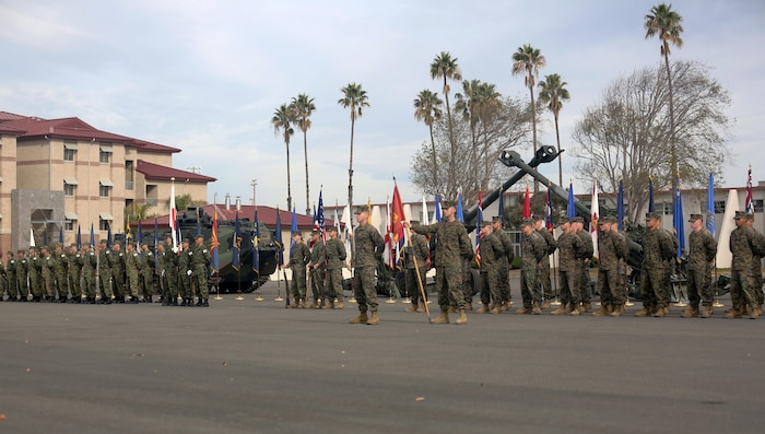 United States Marines and Japan Ground Self Defense Force soldiers stand side-by-side in formation during the opening ceremony commemorating the beginning of Exercise Iron Fist 2016 aboard Marine Corps Base Camp Pendleton, Calif., Jan. 22, 2016. Iron Fist is an annual, bilateral amphibious training exercise, held in Southern California, between the USMC and the JGSDF. (U.S. Marine Corps photo by Cpl. Garrett White/ Released)