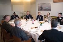 U.S. Marine Corps Gen. Joseph F. Dunford Jr., left, chairman of the Joint Chiefs of Staff, and Gen. Pierre de Villiers, second from right, chief of France's defense staff, have a working lunch in Paris, Jan. 22, 2016. DoD photo by D. Myles Cullen