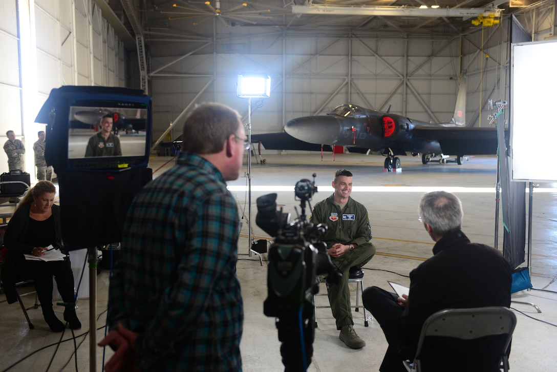 "Lt. Col. Michael Gilmore, 99th Reconnaissance Squadron commander, is interviewed by media Jan. 21, 2016, at Beale Air Force Base, California. Gilmore provided expertise on the current capabilities of the U-2 Dragon Lady to be featured on the upcoming ""Bridge of Spies"" DVD extras release. (U.S. Air Force photo by Senior Airman Bobby Cummings)"