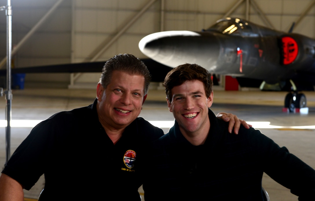 Austin Stowell (right), the actor who portrayed Francis Gary Powers, in the film Bridge of Spies, and Francis Gary Powers Jr. (left), pose for a photo at Beale Air Force Base, California, Jan. 21, 2016. The Stowell and Powers Jr. interview will be included in the DVD extras scheduled for release in February. Bridge of Spies has been nominated for Best Picture at the upcoming Academy Awards. (U.S. Air Force photo by Senior Airman Bobby Cummings)
