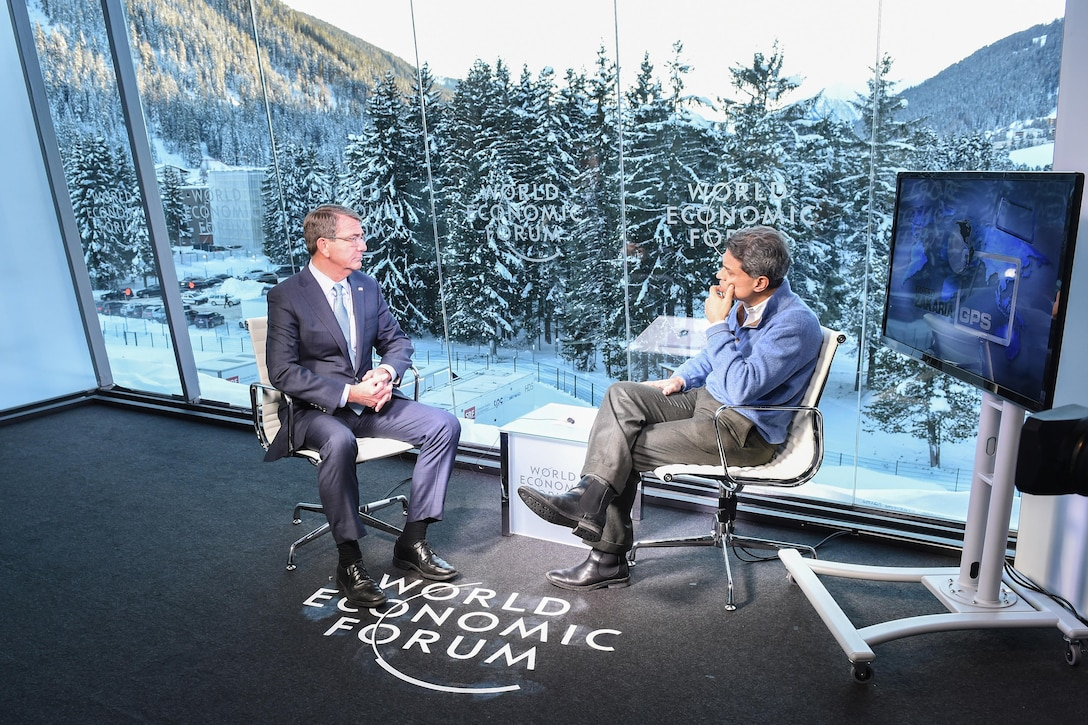 U.S. Defense Secretary Ash Carter gives an interview to Fareed Zakaria during the World Economic Forum's annual meeting in Davos, Switzerland, Jan. 22, 2016. DoD photo by Army Sgt. 1st Class Clydell Kinchen