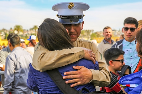 A Marine from Charlie Company, 1st Recruit Training Battalion, hugs his loved one after graduating from recruit training at Marine Corps Recruit Depot San Diego, Jan. 22. After graduation, all Marines are given 10 days of leave before taking the next step in training. Annually, more than 17,000 males recruited from the Western Recruiting Region are trained at MCRD San Diego.