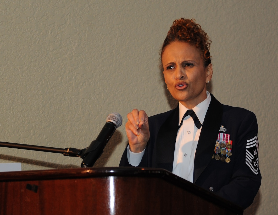 """Retired Chief Master Sgt. Aliquippa Allen delivers comments as the guest speaker during the 2015 Keesler Annual Awards Banquet at the Bay Breeze Event Center Jan. 20, 2016, Keesler Air Force Base, Miss. The ceremony recognized outstanding Airmen and civilians in 14 categories for their accomplishments throughout 2015. The theme for the event was """"ordinary people doing extraordinary things."""" (U.S. Air Force photo by Kemberly Groue)"""
