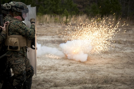 Marines with Battalion Landing Team 1st Battalion, 6th Marine Regiment, 22nd Marine Expeditionary Unit, were hit by random objects such as batons and flash bangs during a non-lethal weapons course at Camp Lejeune, N.C., Jan. 22, 2016. The Marines participated in the course to ensure mission readiness and to improve their ability to maintain control during a riot. (U.S. Marine Corps photo by Cpl. Chris Garcia/Released)