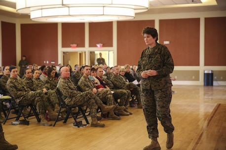 Brig. Gen. Loretta E. Reynolds, commander of U.S. Marine Corps Forces Cyberspace Command, spoke with leaders across II Marine Expeditionary Force as the guest speaker at a Lean In Circle event at Camp Lejeune, N.C., Jan. 20, 2016. In Sept. 2015, Secretary of Defense Ash Carter announced a partnership with LeanIn.Org, founded by Facebook's chief operating officer, Sheryl Sandberg, and his commitment to bring Lean In Circles to military installations throughout the Department of Defense as a resource to be used for mentorship at the lowest levels. (U.S. Marine Corps photo by Cpl. Fatmeh Saad/Released)