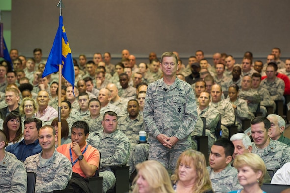 Brig Gen Monteith, 45th Space Wing commander, speaks the audience at an All-Call for base personnel Jan. 4 at the Patrick Air Force Base Theater. The general rang in the new year with the crowd by reviewing the highlights of the previous year, reporting the successful results of an Air Force Space Command Inspector General Unit Effectiveness Inspection and addressing the future expectations for 2016. (U.S. Air Force photo by Benjamin Thacker) (Released)
